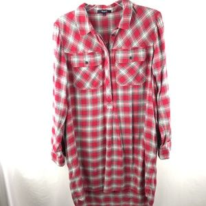 Madewell Fairfield red plaid ex-boyfriend tunic
